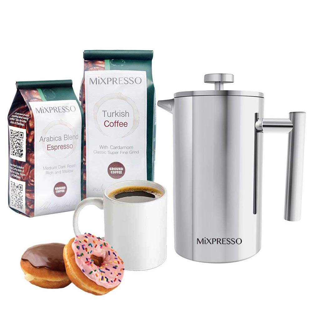 Stainless Steel French Press Coffee Maker Double Wall Insulation Coffee &Tea Brewer Maker Easy Clean By Mixpresso (1L, 34 oz.)