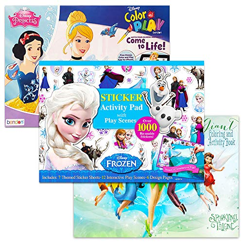 Disney Floor Coloring Pad Super Set -- 3 Giant Coloring Books with Stickers (Featuring Frozen, Disney Princess and More)