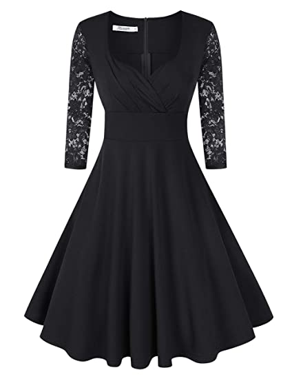 3bb417a8084 KOJOOIN Women s Vintage 1950s Cocktail Dresses Retro Swing Rockabilly Party  Dress Black 1-Long Sleeve