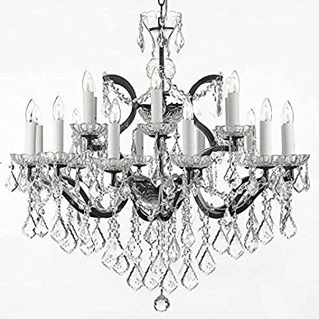 19th C Baroque Iron Crystal Chandelier Lighting H 28 X W 30