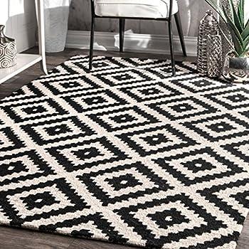 nuloom black hand tufted kellee rug 7 feet 6 inches by 9 feet 6 inches - Black And White Rug