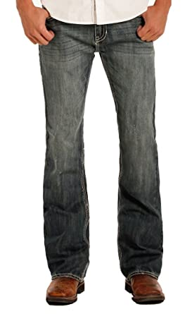 e9fc0e5d Rock & Roll Denim Men's Pistol Regular Fit Boot Cut Vintage Wash Western  Jeans