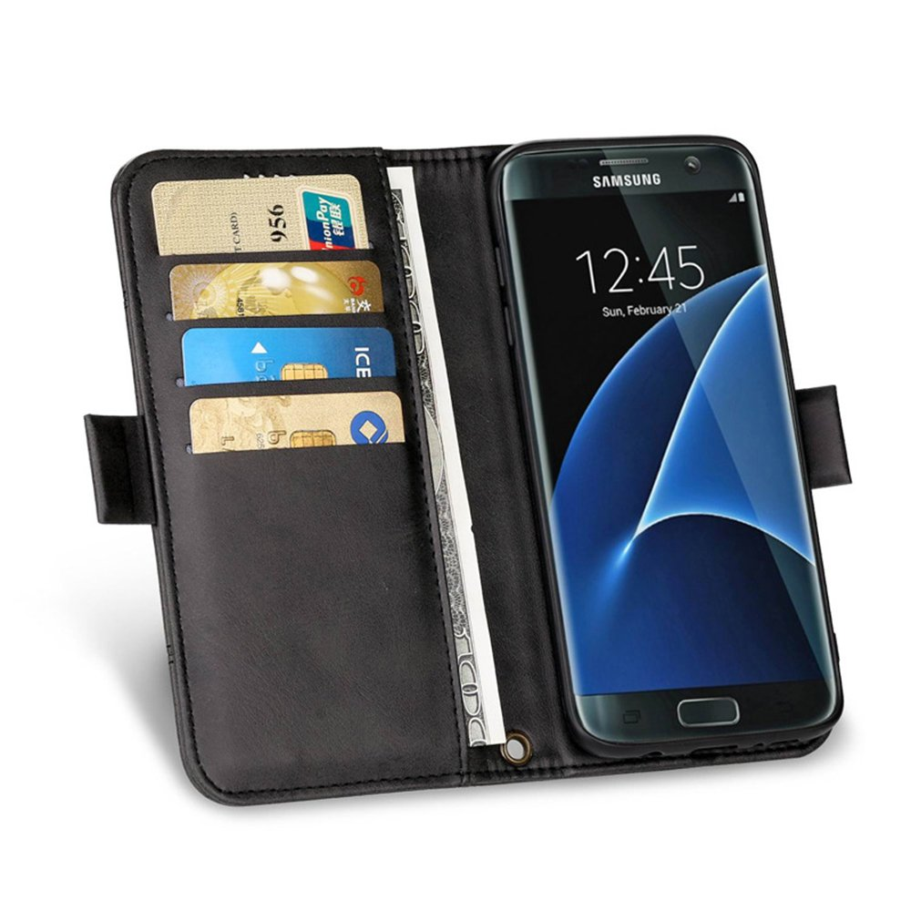 Samsung S8 Plus Wallet Case KingTo Synthetic Leather Slim Fit Retro Vintage Stand Smart Hand Strap Wallet Protective Case with Card Slots & ID Holder(Black) by KingTo