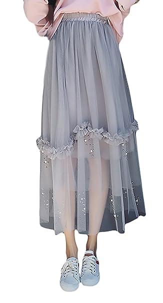 Faldas Largas Mujer Moda Fiesta Elegantes Cintura Alta con Perlas Niñas  Ropa Joven Bonita Una Línea Faldas De Tul Enaguas Falda Plisada  Amazon.es   Ropa y ... d2dd5f5c5c15