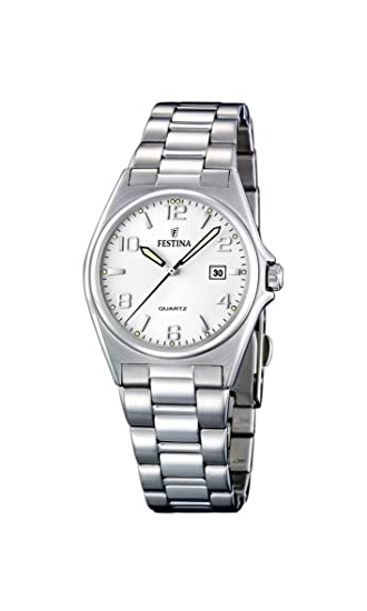Festina F16375/5 - Reloj analógico de Cuarzo para Mujer con Correa de Acero Inoxidable, Color Plateado: Amazon.es: Relojes