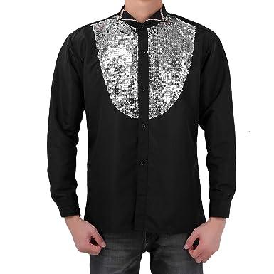 Freebily Mens 70s Dancing King Sequin Disco Shirt Costume Long Sleeve Dress Shirts