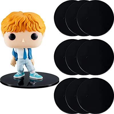 Outus 10 Pieces Plastic Action Figure Display Stands Round Figure Stand Miniature Bases for 6 - 8 Inches Figures (Black): Toys & Games
