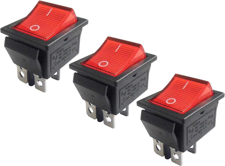 WITTKOWARE Lot de 3 interrupteurs de contr/ôle /à Bascule /à 2 p/ôles on//Off Rouge 30 x 22 mm 16 A//250 V
