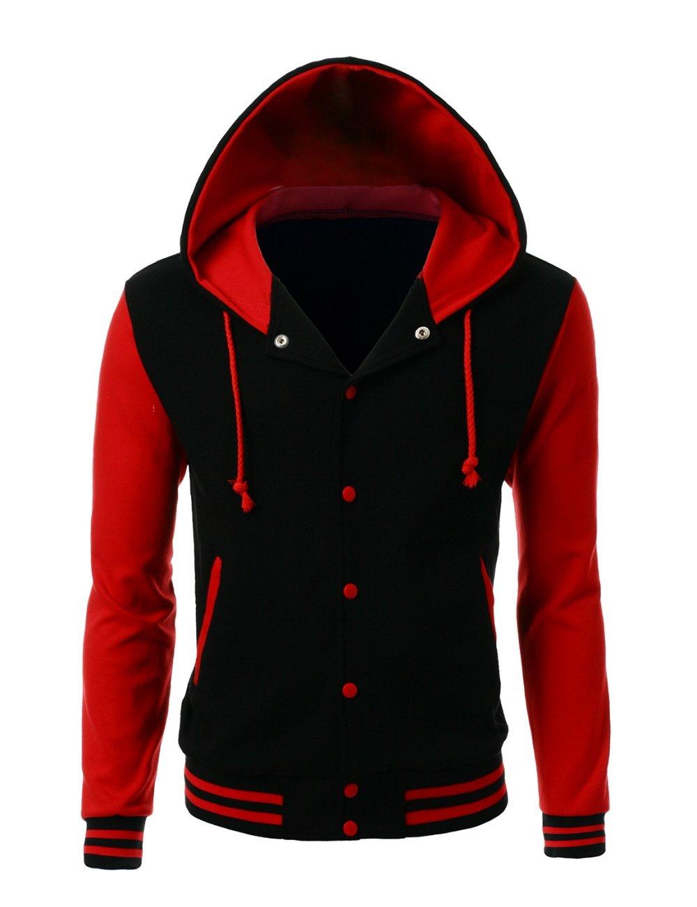 Stylish Color Contrast Long Sleeves Hoodie Varsity Jacket Black Red XL