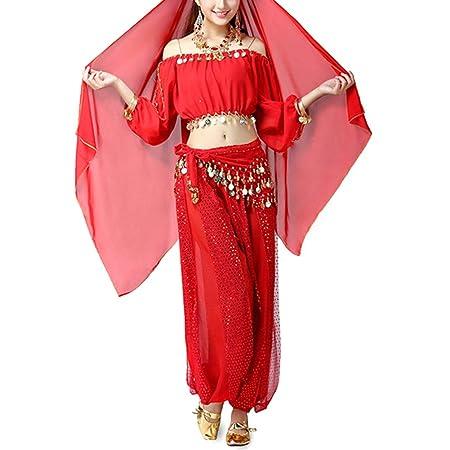 X-DAAO - Disfraz de Danza India para Mujer, Color Rojo: Amazon.es ...