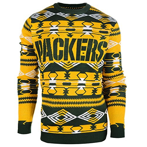 Crew Football Sweater - Klew NFL Football 2015 Aztec Ugly Crew Neck Holiday Sweater - Pick Team (Green Bay Packers, Large)