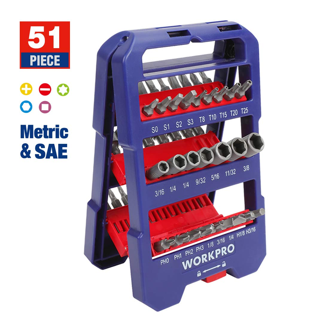 Magnetic Extension Bit Holder WORKPRO 51-Piece Screwdriver Bits Set with Slotted Phillips Torx Hex Bits Nut Driver Screw Bits in Auto-Opening Tool Kit for Any Brand Electric Screwdriver