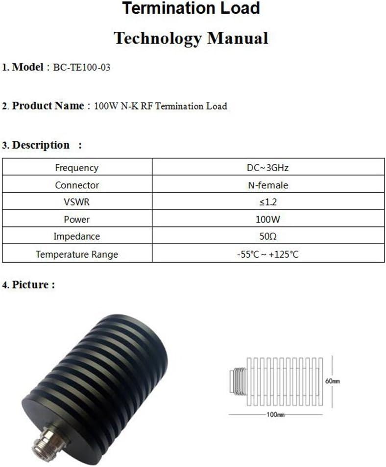 BECEN 100W N-Female Connector Dummy Load,RF Termination Load,DC to 3 GHz,50ohm