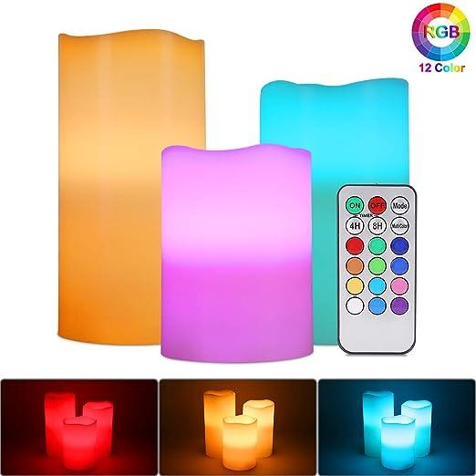 Velas de LED sin Llama, ALED LIGHT Pack de 3 RGB Multicolores Electrico Velas Luces de Cera Reales Velas Pilas Electricas con Mando a Distancia y ...