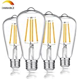 LED Edison Light Bulb 100W Equivalent, 1200 Lumens, Dimmable 8W E26 Base LED Filament Vintage Light Bulbs with Warm White 2700K for Home Reading Room Bathroom, Pack of 4