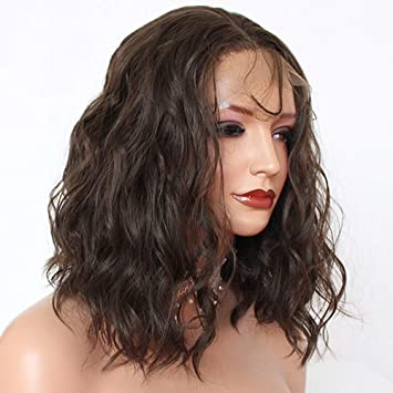 PlatinumHair Bob Cut Curly Hair Synthetic Lace Front Wigs Brown Color Short  Loose Curly Wig 8 Bob