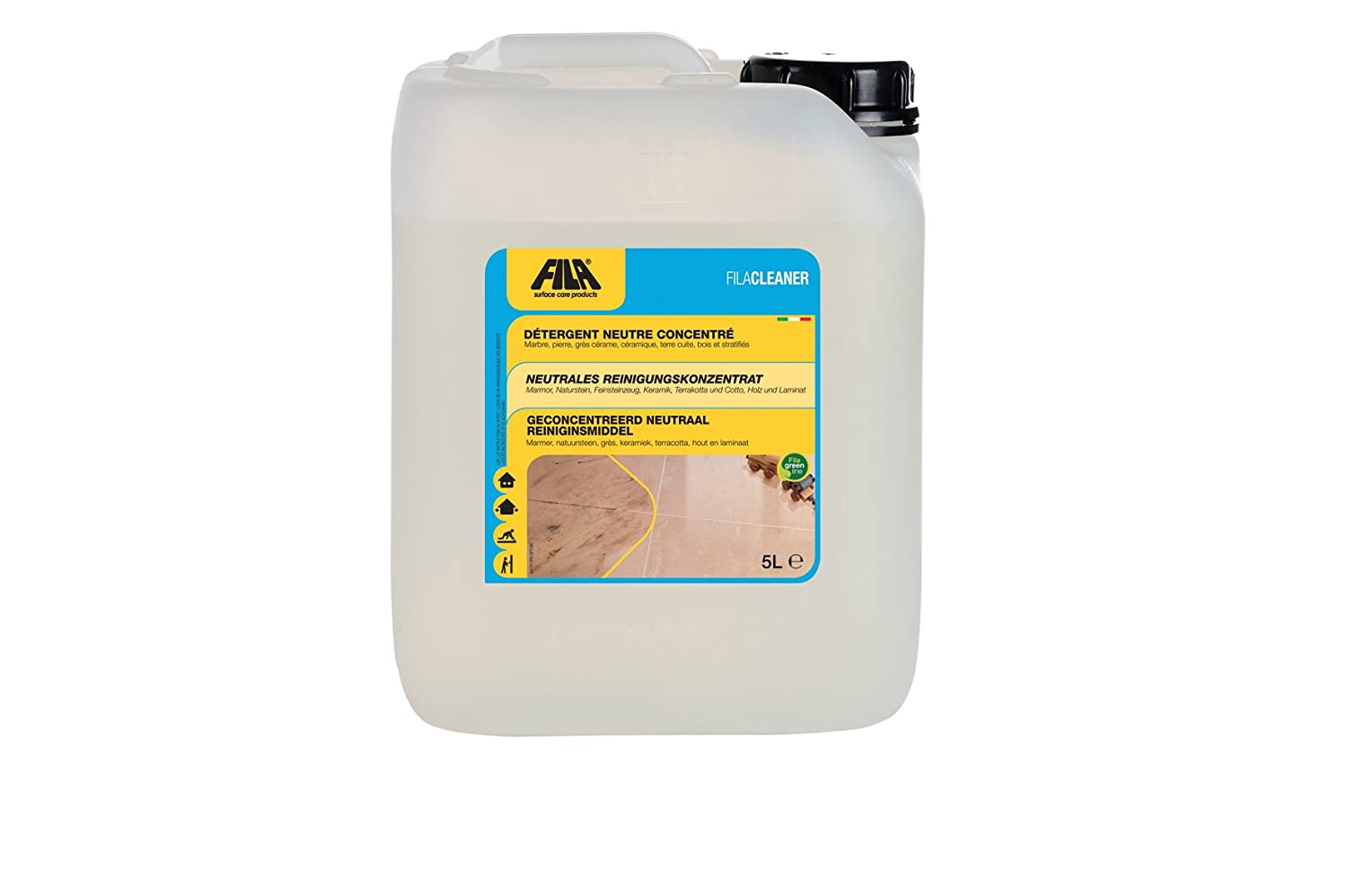 Fila CLEANER Fila Solutions 5 Liter Universal cleaner for terracotta, porcelain, glazed ceramic, clinker, cement, wood, natural stone, granite, agglomerates, tumbled marble, stones and pebbles. Fila Industria Chimica Spa