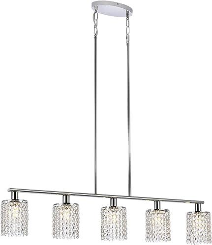 Luburs 5-Light Modern Crystal Chandelier Lighting Fixtures Dining Room Ceiling Hanging,Crystal Pendant Chandelier Light,Chrome Table Light