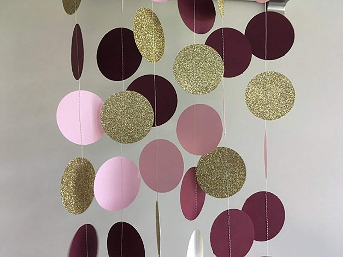 Monkey Home 26pcsTissue Paper Pom Poms Tassel Garlands Circle Dot Paper Garland for Bridal Shower Decorations Birthday Wedding Party Decor Burgundy Pink White Silver