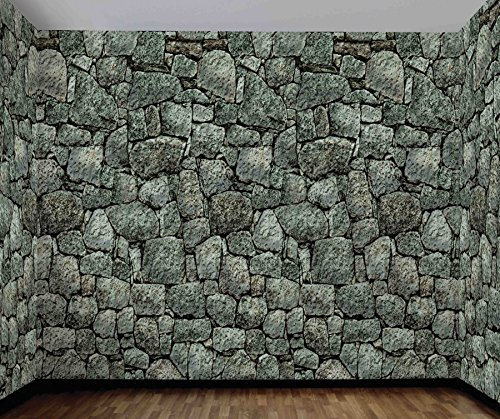 UHC Medieval Stone Wall Roll Backdrop Haunted House Halloween Decoration - Stone Statue Halloween Costume