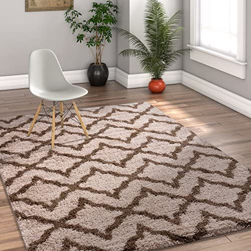 Lattice Links Modern Geometric Trellis 7x10 6 7 x 9 10 Area Rug Brown Beige Plush Shag Easy Care Thick Soft Plush Living Room