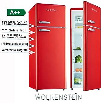 Retro Kühl Gefrier Kombination Rot Glanz GK212.4RT A++ 206 Liter Nostalgie  Design Kühlschrank: Amazon.de: Elektro Großgeräte