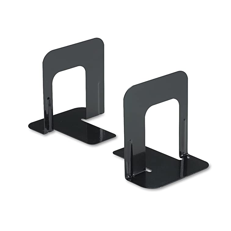 Innovera Universal Economy Bookends, Nonskid, 4 3/4 x 5 1/4 x 5 Inches, Heavy Gauge Steel, Black 54055 (pack 2)