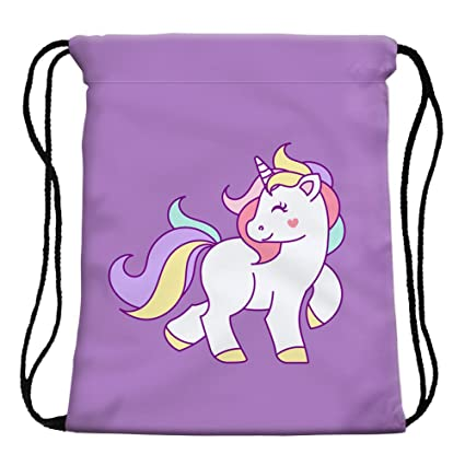 280b627c6fdd StylesILove My Unicorn World Graphic Print Gym Girls Womens Drawstring  Backpack (Purple)