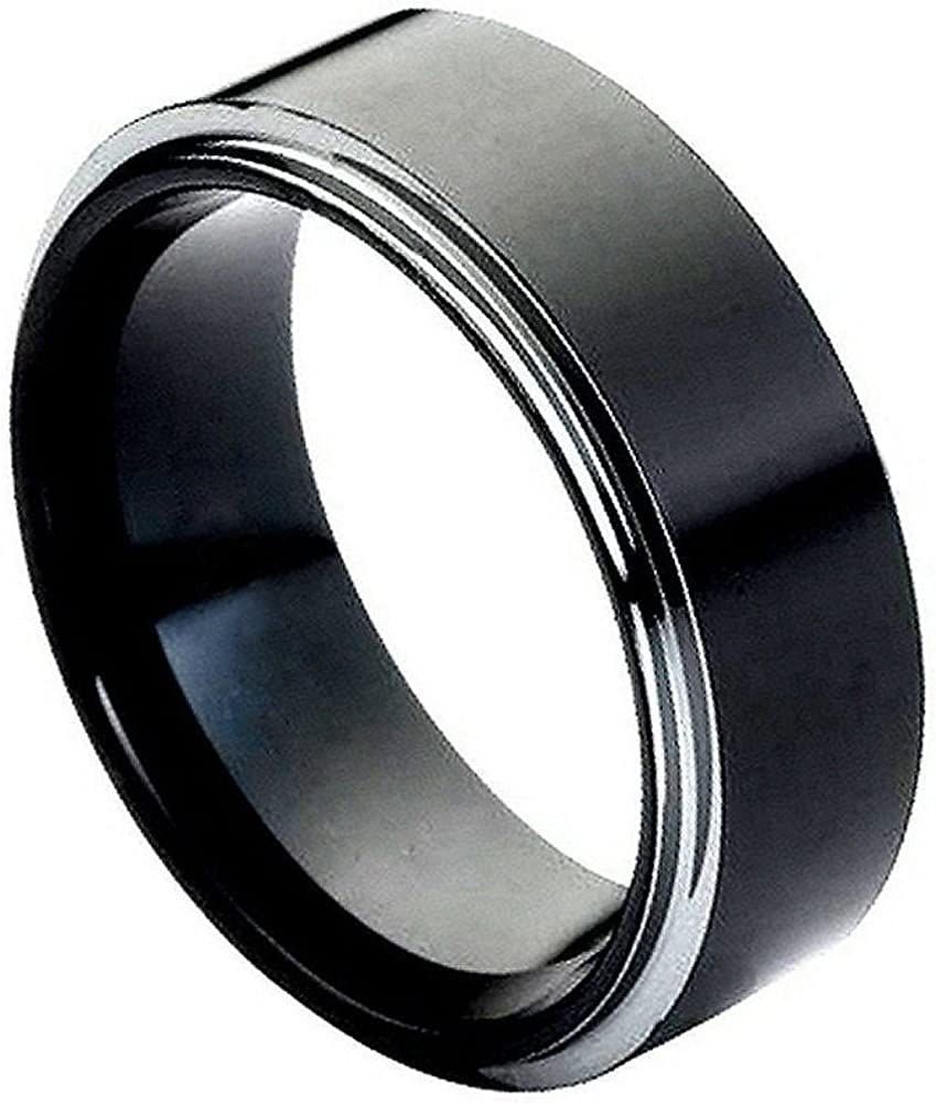 Gemini His and Her Black Titanium Promise Rings Couple Matching Wedding Rings Set 6mm /& 4mm Width Men Ring Size 15 Women Ring Size 6