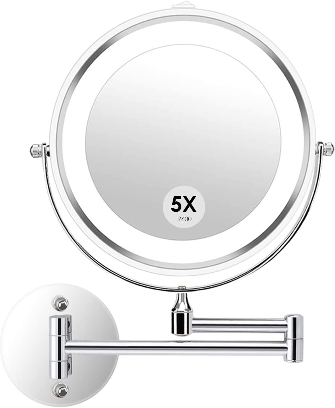 Alvorog Wall Mounted Makeup Mirror Led Lighted Double Sided 5x Magnification 360 Swivel Extendable Cosmetic Vanity Mirror For Bathroom Hotels Powered By Batteries Not Included 7 Inches Amazon Com