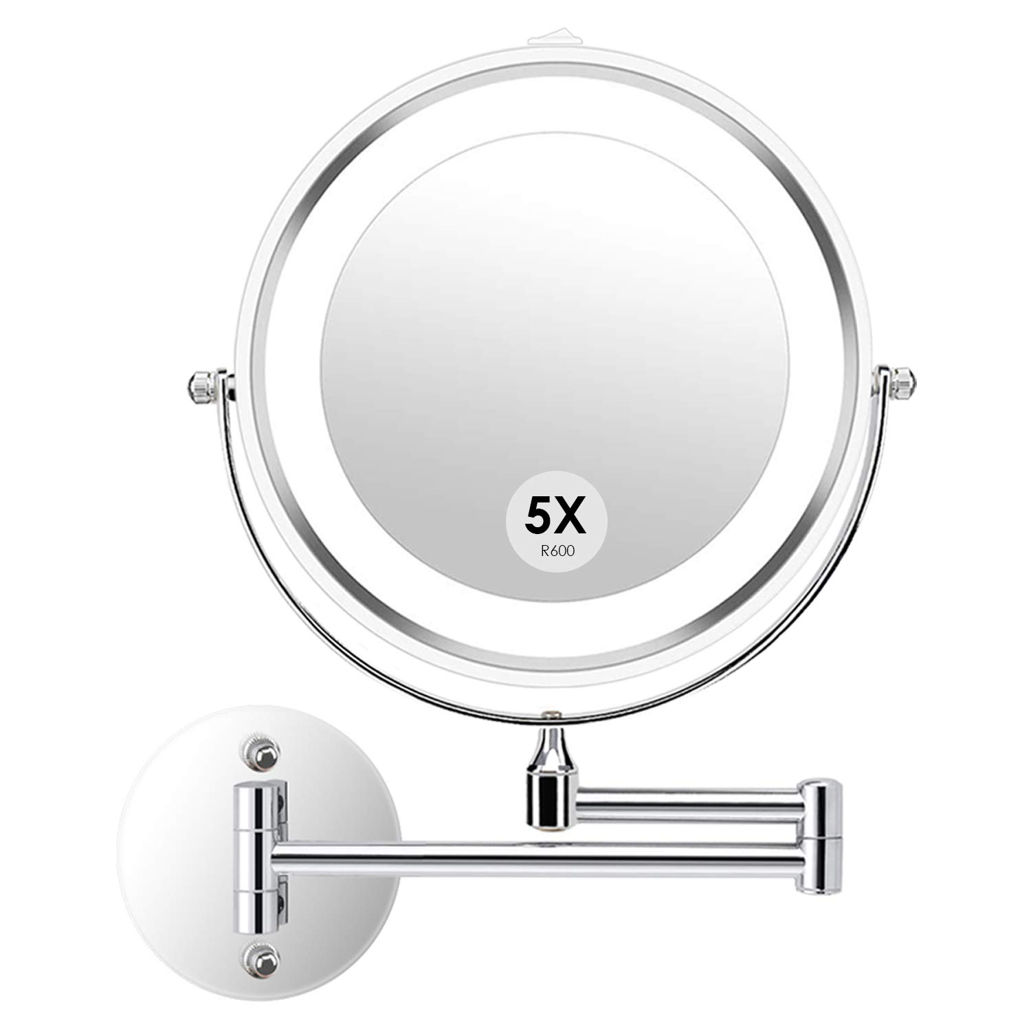 Alvorog 5X Lighted Wall Mounted Makeup Mirror