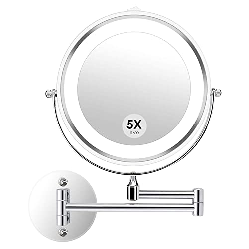 alvorog Wall Mounted Makeup Mirror LED Lighted Double Sided 5X Magnification 360 Swivel Extendable Cosmetic Vanity Mirror for Bathroom Hotels, Powered by Batteries Not Included -7 inches