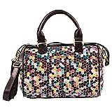 Gemma Cotton Hexagonal Multicolored Pattern Slip and Zip Pockets Satchel Handbag 8 x 12 x 6.5 Inches
