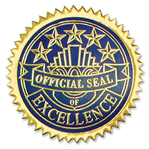 Embossed Excellence Foil Certificate Seals, 102 Pack Gold and Blue