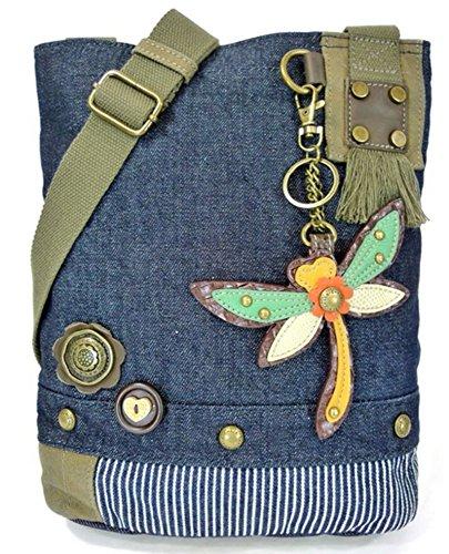 Dragonfly Denim (Chala Handbag Patch Cross-body DRAGONFLY Denim Navy Blue Bag,)