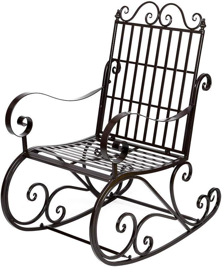 Ebtools - Silla mecedora de hierro con revestimiento pintado de estilo retro decorativa, 60,5 x 90 x 104,5 cm
