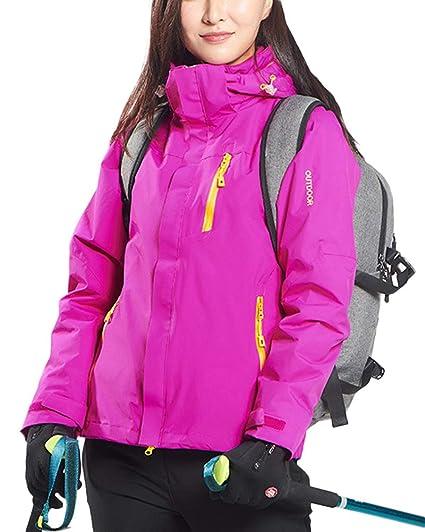 QitunC Mujer Hombre 3 en 1 Al Aire Libre Esquí Montaña Chaqueta Impermeable Abrigos con Capucha