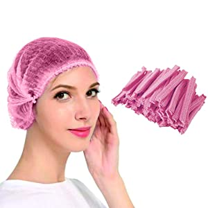 Abnaok Non Woven Disposable Dust Caps, 100 PCS Elastic Caps for Food Industries, Medical Works - Pleated Anti Dust Hat Set Universal Size(Pink)