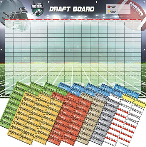 Amehla Fantasy Football Draft Board 2019 Kit - Heavy Duty 3-Feet x 5-Feet Vinyl Banner Fantasy Draft Board with Reinforced Grommets and Color Coded Player Labels - by Position - for All Size Leagues (Best Fantasy Draft App)
