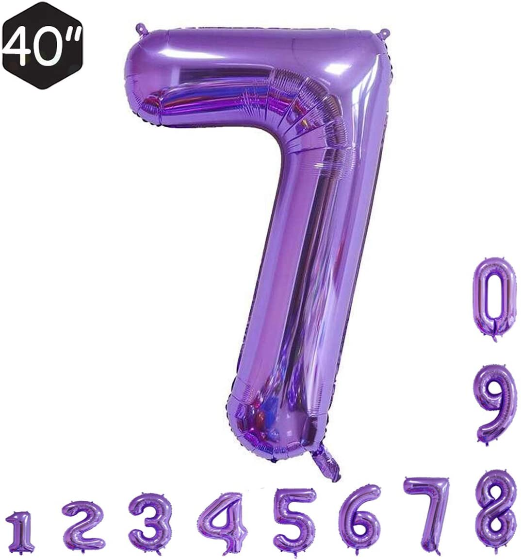 CRAZY GOTEND 40 Inch Purple Number Balloons 3th Birthday Party Decorations Helium Foil Mylar Number Balloon