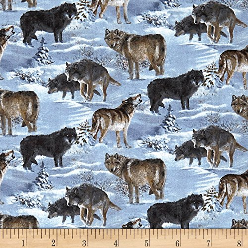 Springs Creative Products Wild Wings Silver Shadows Wolf Coordinate Multi Fabric By The (Wolf Fabric)