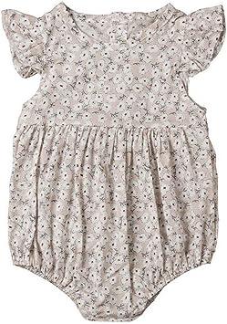 B Bone Baby Girls Clothes Round Neck Sleeveless Ruffle Bodysuit Cotton Toddler Geometry Jumpsuit one Pieces