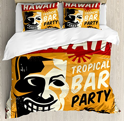 Ambesonne Tiki Bar Decor Duvet Cover Set Queen Size, Welcome To Hawaii Tropical Bar Party Retro Style Grunge Signboard Picture, Decorative 3 Piece Bedding Set with 2 Pillow Shams, Multicolor by Ambesonne