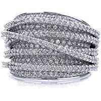 Sterling Silver 14K Gold or Rose Gold Plated Intertwined Design CZ Beautiful Pave Right Hand Ring...