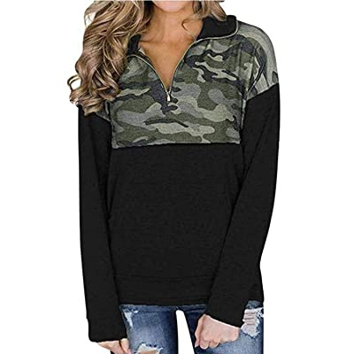 AlvaQ Women Quarter Zip Color Block Pullover Sweatshirt Tops with Pockets(9 Colors, S-XXL) at Amazon Women's Clothing store