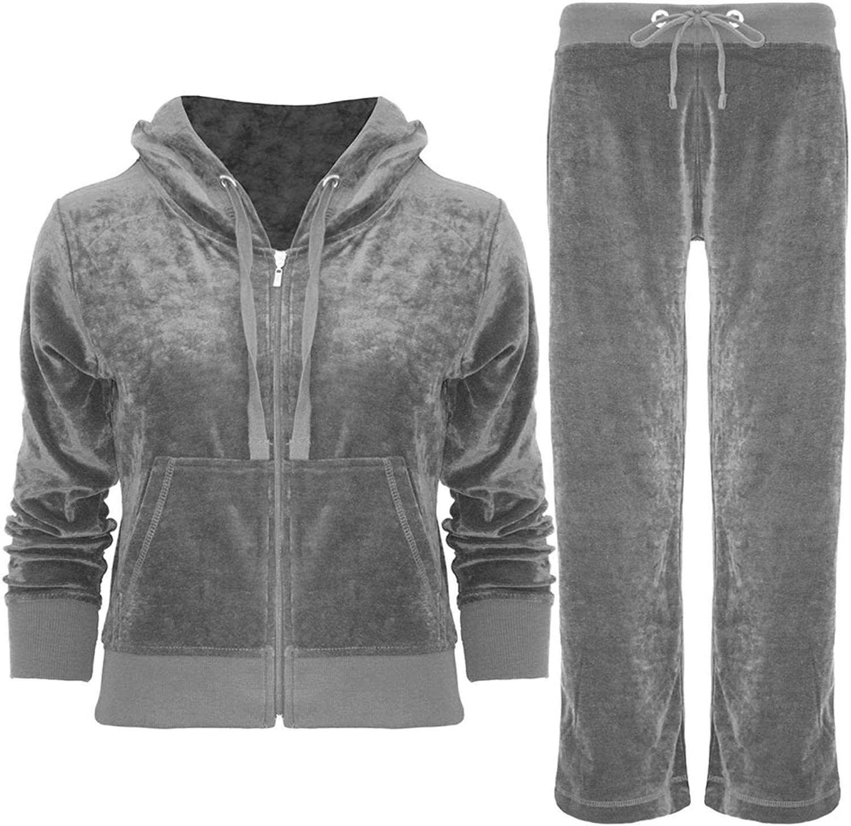 Fashion Star Womens Ladies Hooded Velvet Velour Jogging Bottom Top Loungewear Tracksuit Set
