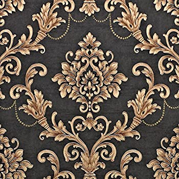 Nice Houzz Gold Black Damask Embossed Wallpapers Victorian Thicken Non Woven Wall Paper For Living