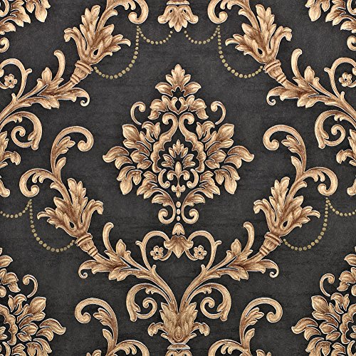 Nice Houzz Damask Wallpapers Gold Black Victorian Embossed Non-Woven Wall Paper for Living Room,Bedroom,Bathroom