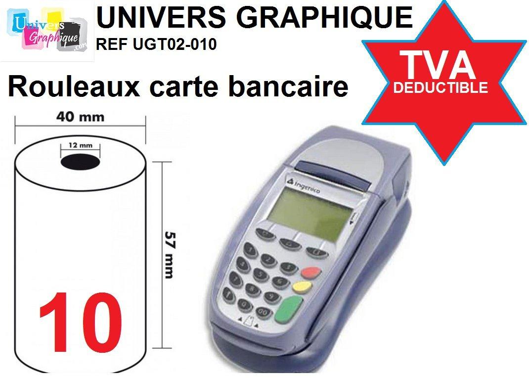10 Thermorollen 57mm x 18m x 12mm [Ø 40mm] für EC-Cash - Thermopapier Kassenrollen -Thermo-Bonrollen UNIVERS GRAPHIQUE ugr574010