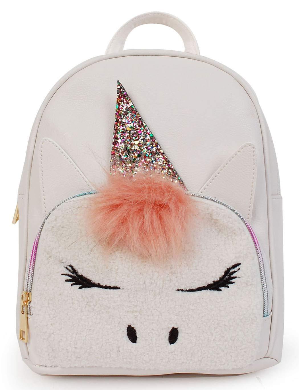 0939d107066ad6 Amazon.com | Mini Unicorn Backpack Purse Daypack Bag for Girls - White/White  Sherpa (715-11) | Casual Daypacks